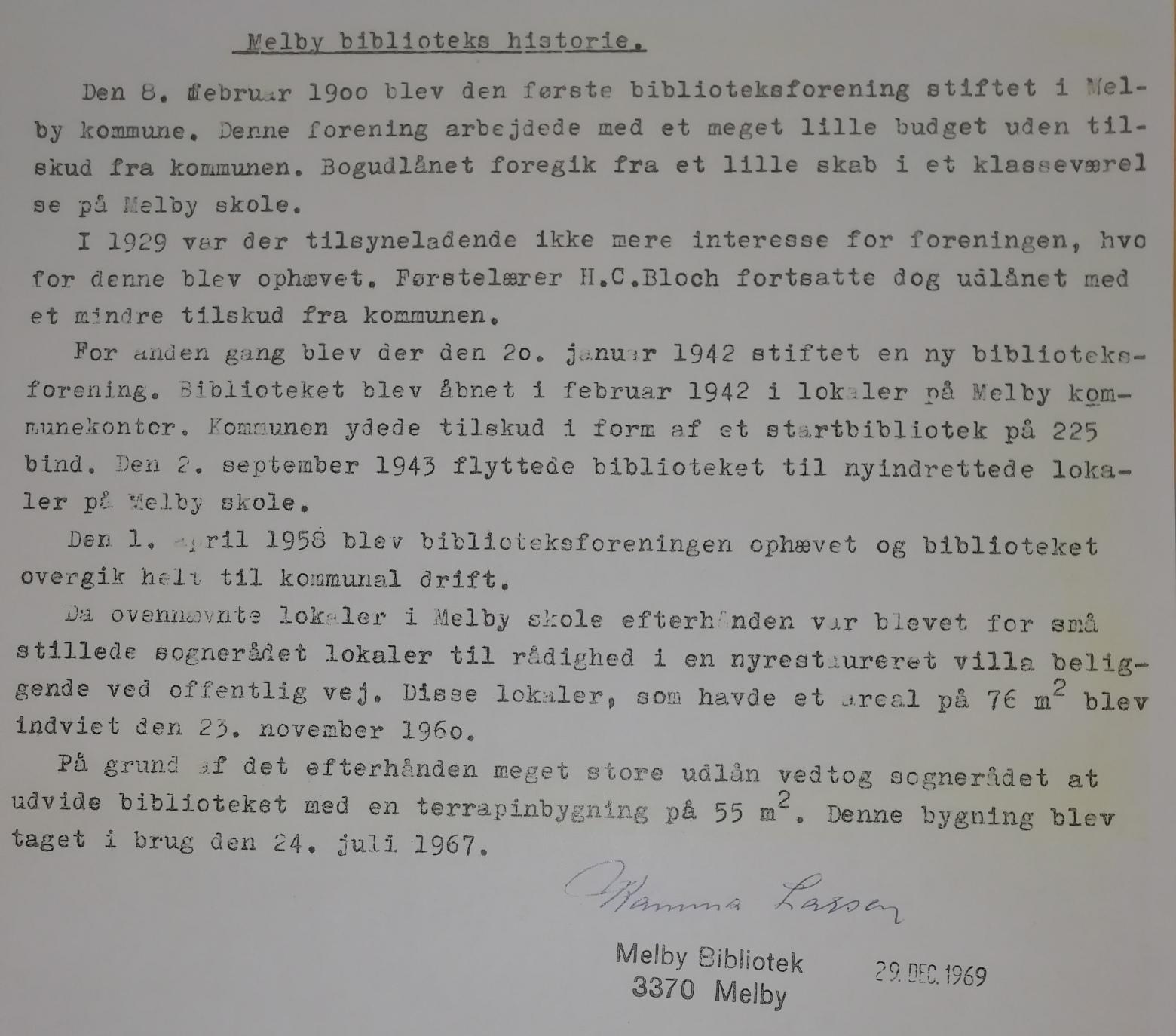 Fortælling om Melby Biblioteks historie - skrevet af Kamma Larsen d. 29. dec. 1969