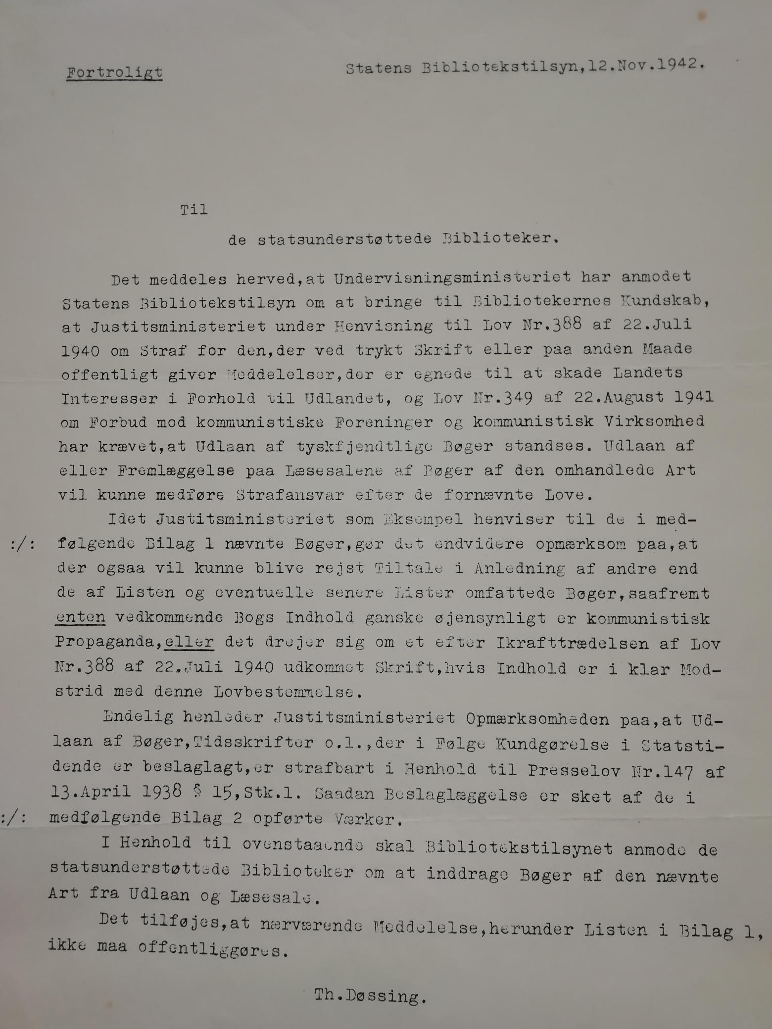 Besked fra Statens Bibliotekstilsyn d. 12. nov. 1941, til de statsunderstøttede biblioteker, om at fjerne tyskfjendtlige bøger